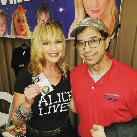 Lisa Wilcox from A Nightmare on Elm Street with HonorOne founder Lane Ostrow at the 2018 Mad Monster Party in Charlotte Hilton
