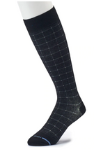 Dr Motion Men's Mild Compression Knee Socks Pin Dot Grid ZM21012
