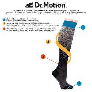Dr Motion Women's Moderate Compression Knee Socks Mega Ombre Stripes ZSK803