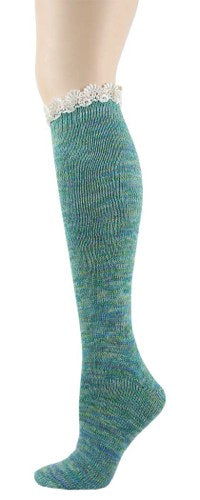 Foot Traffic Lace Twisted Yarn Knee High