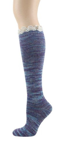 Foot Traffic Lace Twisted Yarn Knee High women's sock