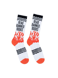 Out of Print Read Banned Books women's and men's socks