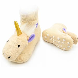 Piero Liventi baby rattle socks with Golden Unicorn