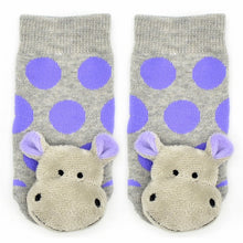 Piero Liventi Baby rattle socks with gray and purple polka dots Happy Hippo