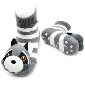 Piero Liventi Baby rattle socks with gray and white stripes Racoon