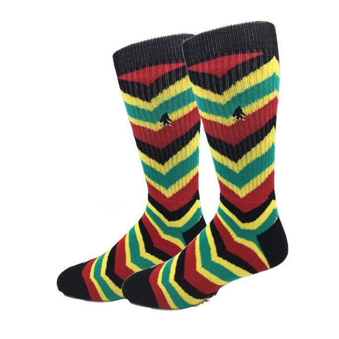 Mens crew sock with chevron strips in red, green, yellow and black