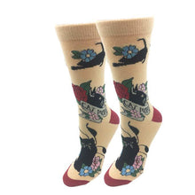 Sock Harbor women's crew sock with Cat Mom and images of cat on tan background