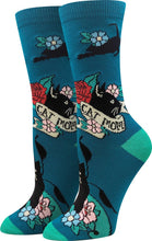 Sock Harbor women's crew sock with Cat Mom and images of cat on teal background