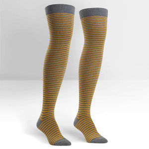 Sock It To Me Mustard & Heather Stripe Over the Knee