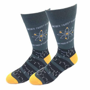 Sock Harbor men's crew Never Trust Atoms They Make Up Everything