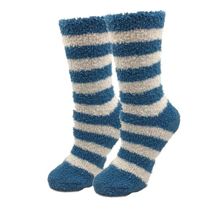 Sock Harbor Blue Stripe Fuzzy