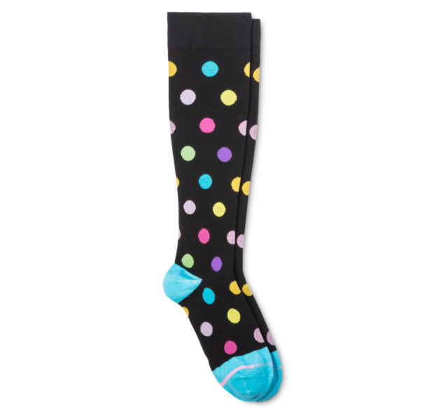 Dr Motion Womens Mild Compression Knee Socks Black Polka Dot
