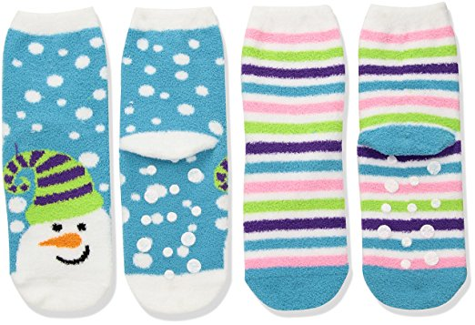 Jefferies Snowman and Stripe Fuzzy Non-Skid 2 Pair Pack