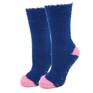 Sock Harbor Navy Contrast Fuzzy women's and men's socks