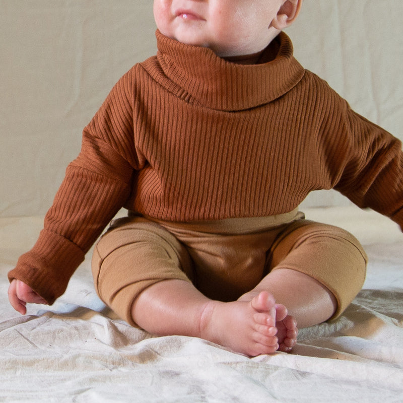 Turtleneck for babies and kids-Rust