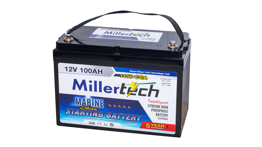 MillerTech 100Ah 12V (12.8V) 1150CCA MARINE Lithium Iron Phosphate (LiFePO4) Group 32 Starting Battery (12100S)