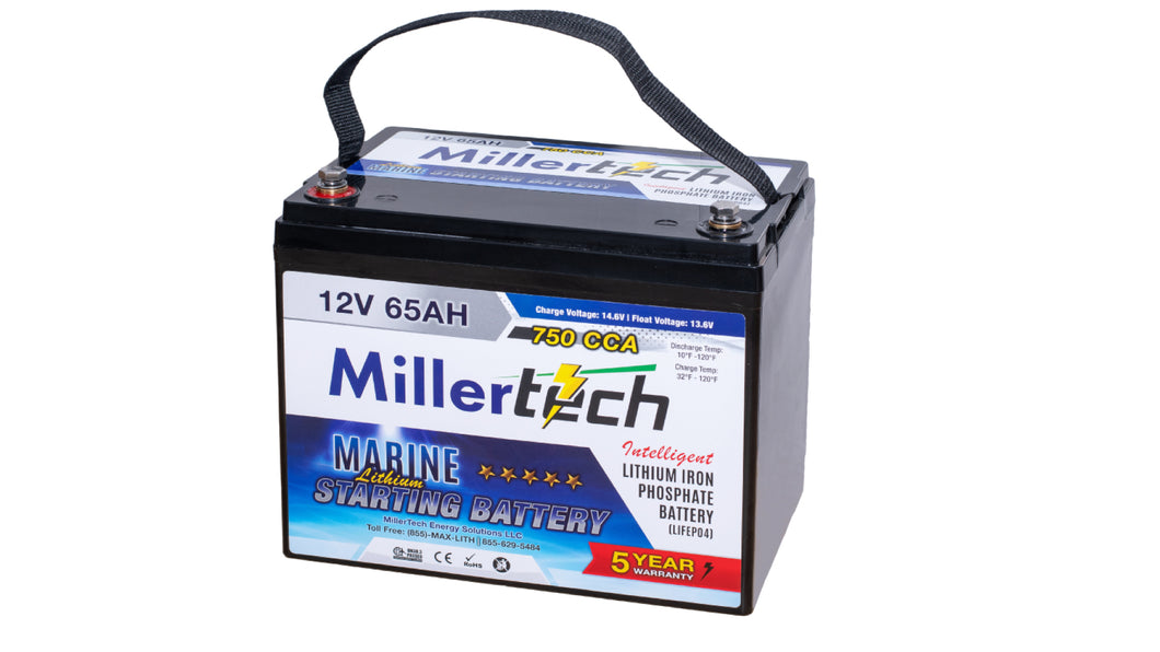 MillerTech 65Ah 12V (12.8V) 750CCA MARINE Lithium Iron Phosphate (LiFePO4) Group 24 Starting Battery (1265S)
