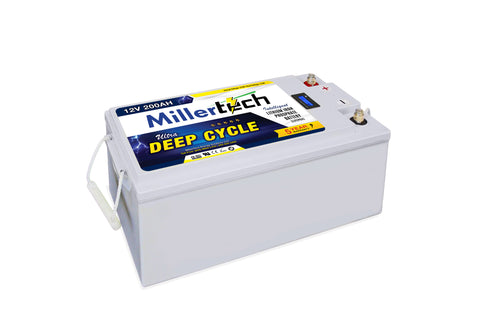 MillerTech 200Ah Premium 12V Ultra Deep Cycle Lithium Iron Phosphate LiFePO4 Smart Battery