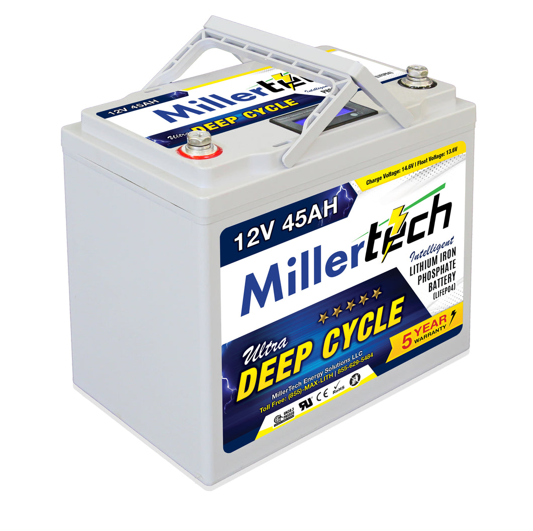 MillerTech 45Ah Premium 12V Ultra Deep Cycle Lithium Iron Phosphate LiFePO4 Smart Battery