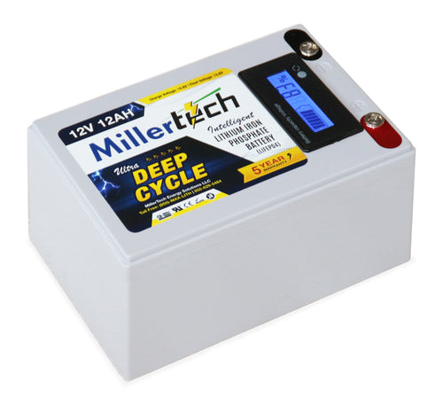 MillerTech 12Ah Premium 12V Ultra Deep Cycle Lithium Iron Phosphate LiFePO4 Smart Battery