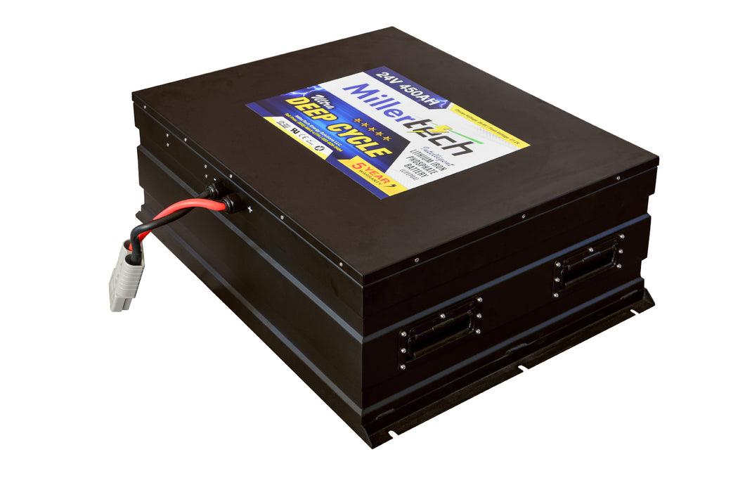 MillerTech 450Ah Premium 24V Ultra Deep Cycle Lithium Iron Phosphate LiFePO4 Smart Battery