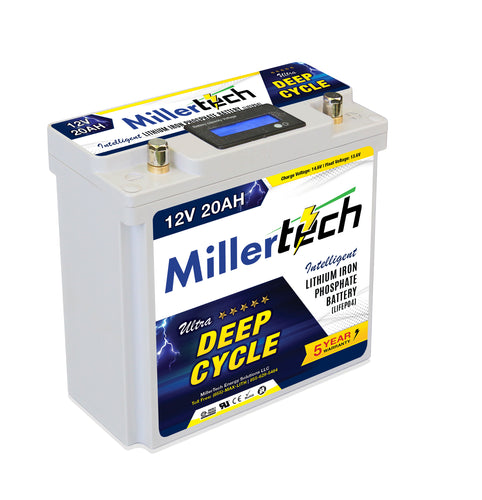 MillerTech 20Ah Premium 12V Ultra Deep Cycle Lithium Iron Phosphate LiFePO4 Smart Battery