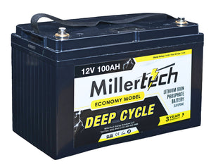MillerTech 100Ah ECONOMY 12V Deep Cycle Lithium Iron Phosphate LiFePO4 Smart Battery