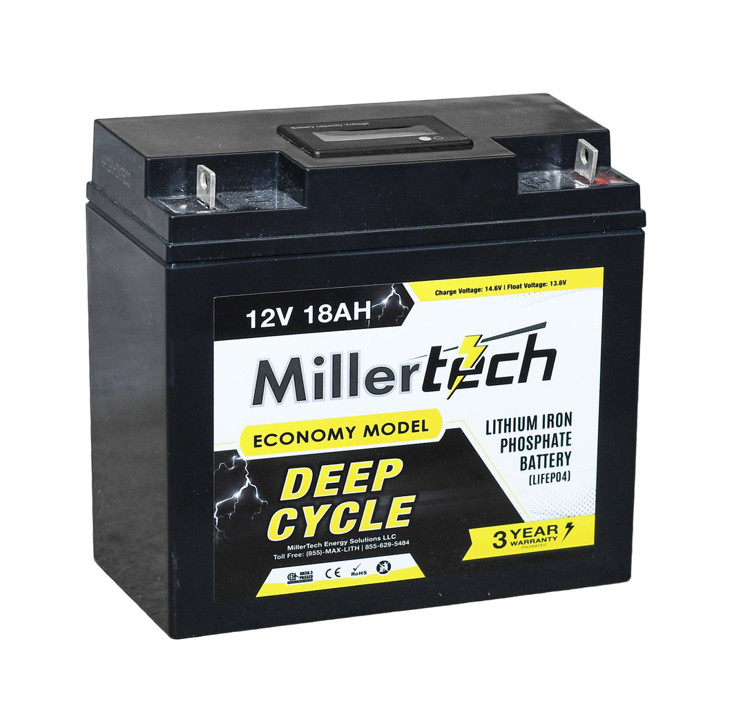 MillerTech 18Ah ECONOMY 12V Deep Cycle Lithium Iron Phosphate LiFePO4 Smart Battery