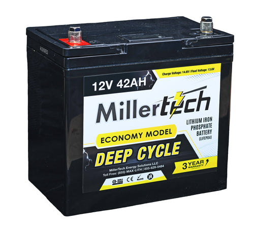 MillerTech 42Ah ECONOMY 12V Deep Cycle Lithium Iron Phosphate LiFePO4 Smart Battery