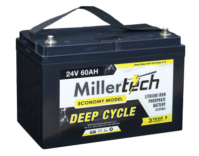 MillerTech 60Ah ECONOMY 12V Deep Cycle Lithium Iron Phosphate LiFePO4 Smart Battery