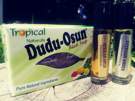 Tropical Naturals Dudu-Osun Black Soap, African Gold Body Oil, Egyptian Amber Body Oil