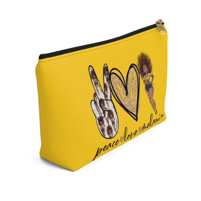 """Peace Love Melanin"" Womens Yellow Accessory Pouch"
