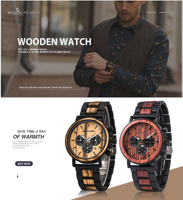 Luxury Wooden Chronograph Military Watch