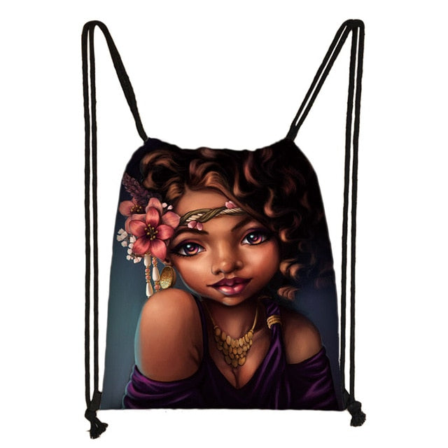 Black Queen Drawstring Bags