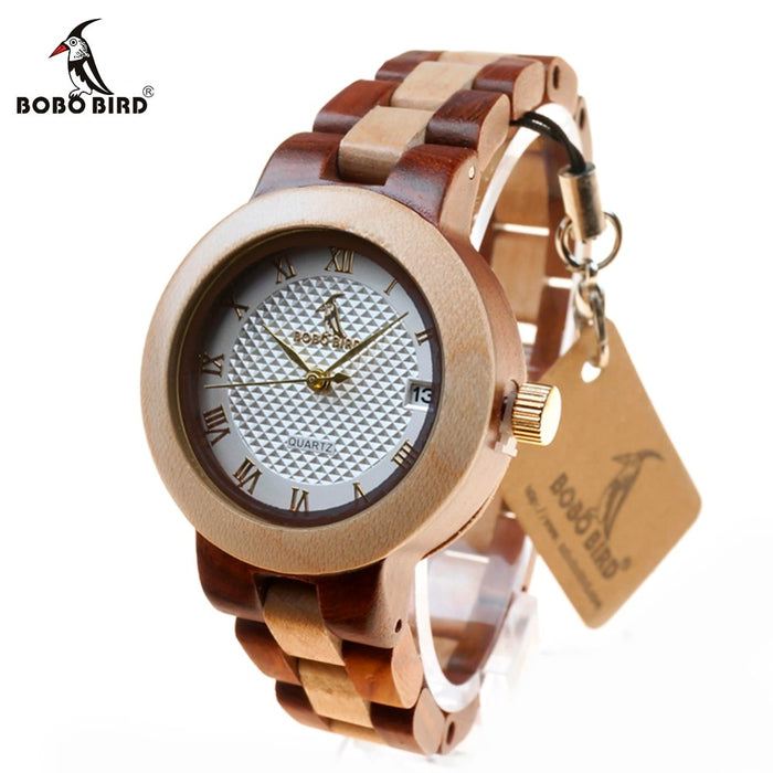 Bobo Bird Ladies Wooden Calendar Wristwatch