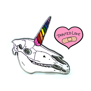 """Tainted Love"" Pin - Unicorn Skull"