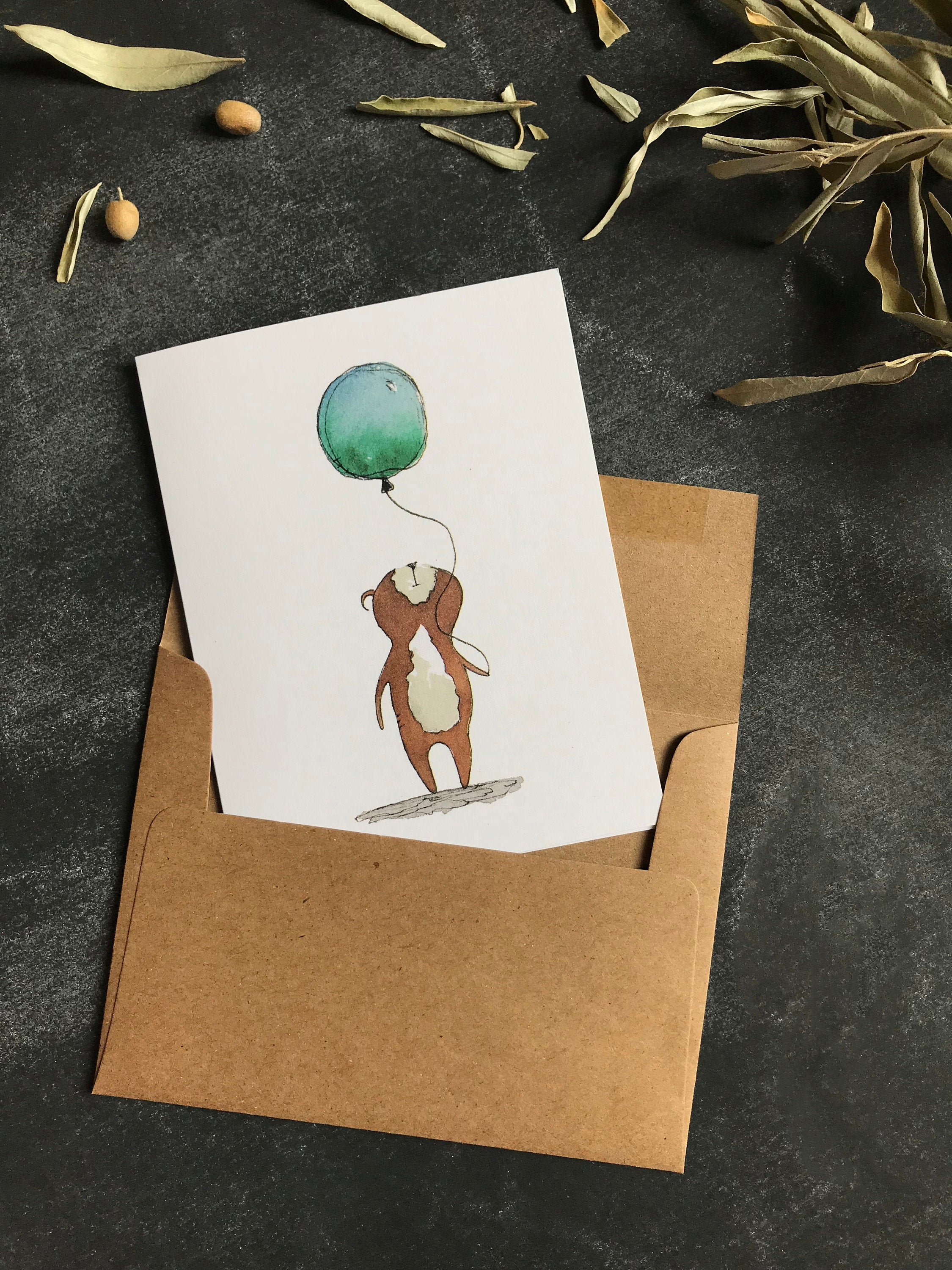 Greeting Cards Bear - Happy Birthday Card Bear - Notecards bear - Watercolor Card - Whimsical Card - Congratulations - Thinking of You card