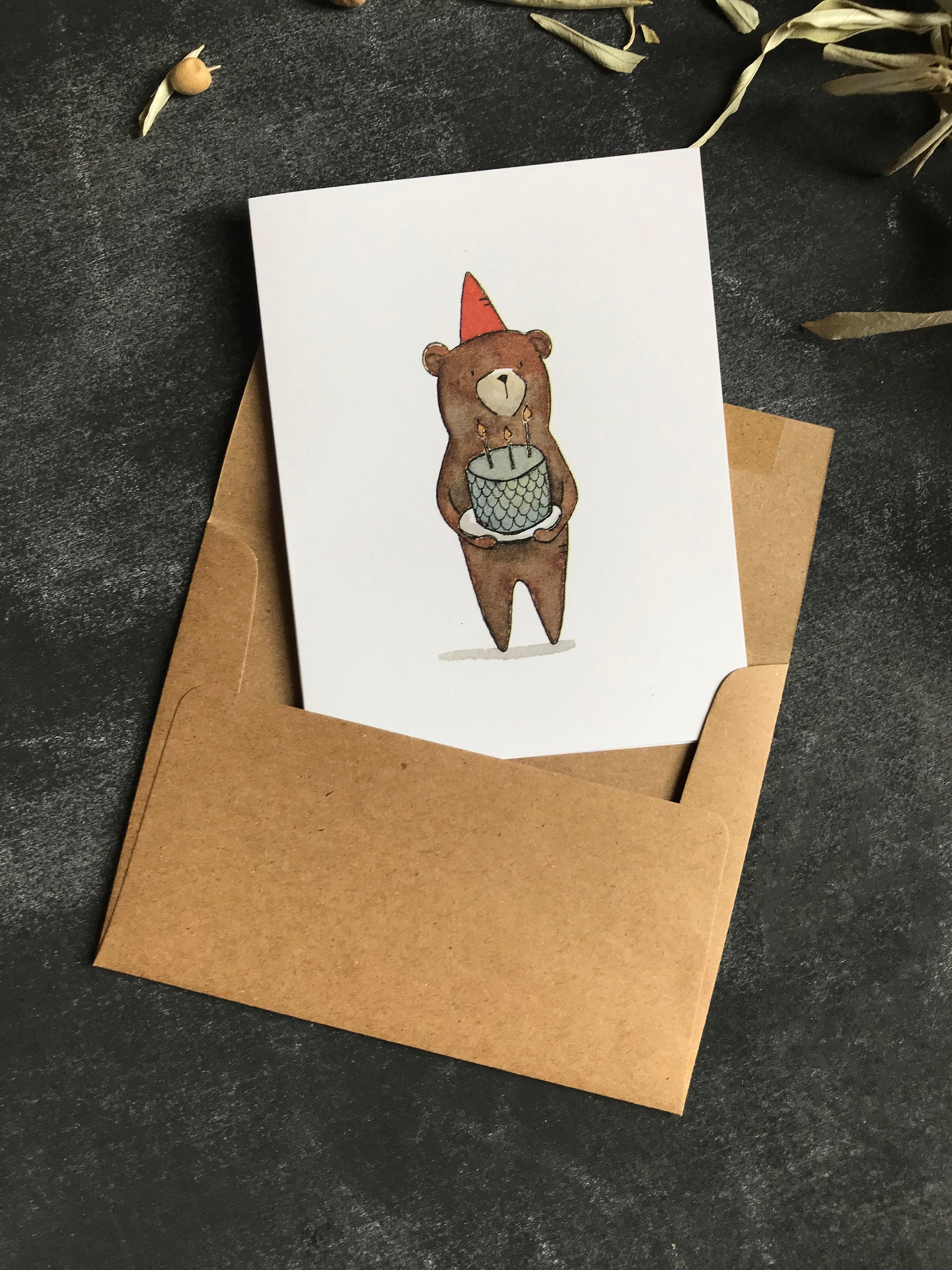 Happy Birthday Card Bear - Greeting Card - Note Card - Woodland Birthday - Watercolor Card - Whimsical Card