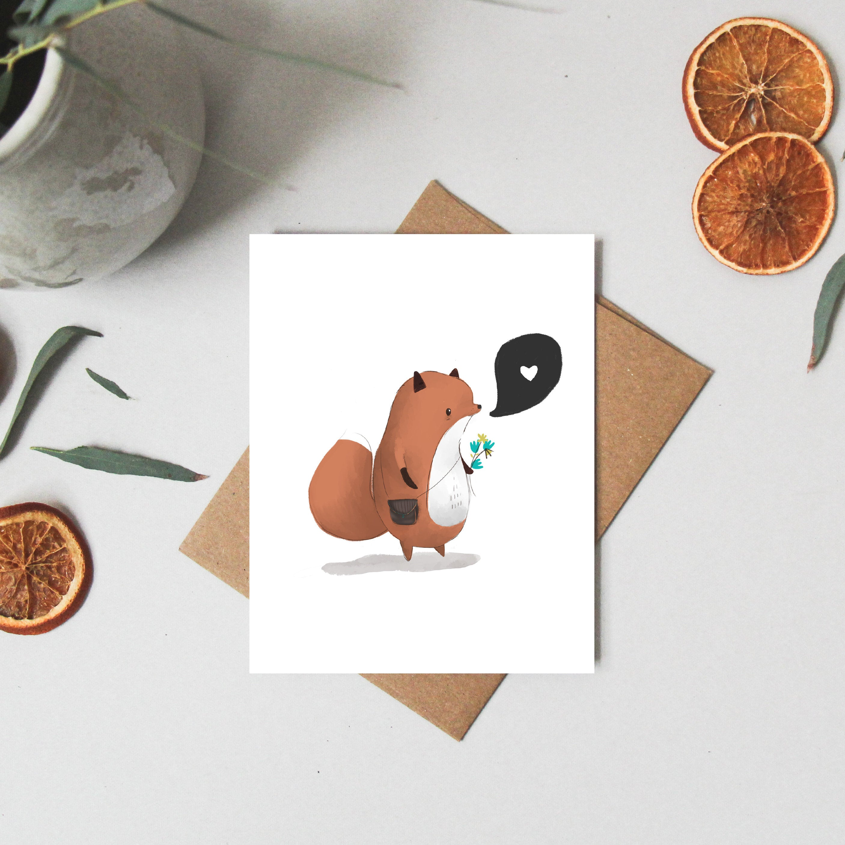 Greeting Cards Fox - Love Card - Blank Note Cards - Woodland Birthday - Thinking of You Card - Whimsical Card - Birthday Card