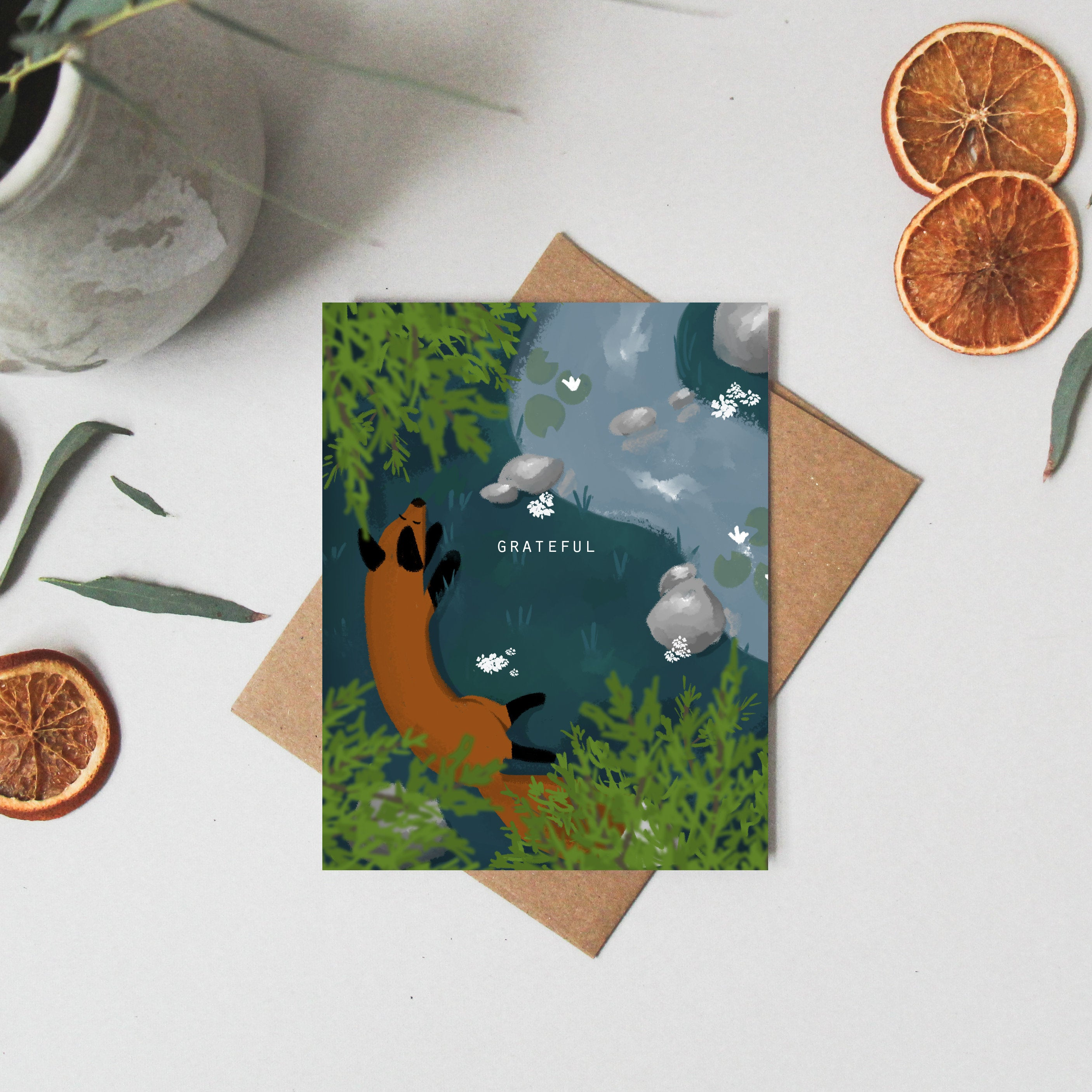 Thank you Cards - Thank you Gift - Greeting Cards blank - Greeting Cards Fox - Thinking of You Card - Whimsical Card