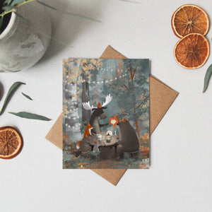 Happy Birthday Card Fox - Bear Greeting Card - Note Card - Woodland Birthday - Watercolor Card - Whimsical Card