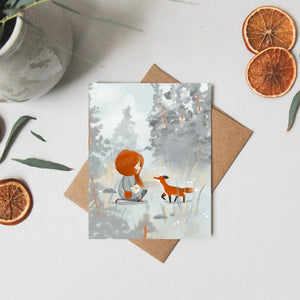 Greeting Card Fox- Thinking of you Card - Note Card - Woodland Birthday - Just Because Card - Whimsical Card - Blank note card