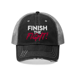 Finish the Fight Unisex Trucker Hat Avail in Colors Black & Navy MasteringPop.com