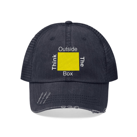 Think Outside the Box Unisex Trucker Hat Avail in Navy Blue & Black
