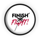 Finish the Fight Black & White Wall Clock MasteringPop.com