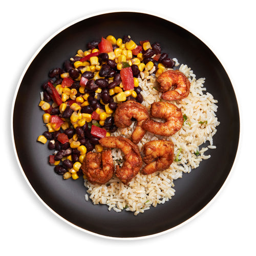 Spicy Lime Shrimp w/Corn-Black Bean Sautee & Cilantro Brown Rice