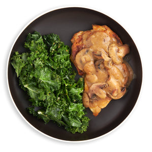 Braised Thigh w/ Mushrooms & Sautéed Kale