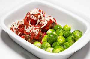Mozzarella Beef Meatballs & Brussels Sprouts