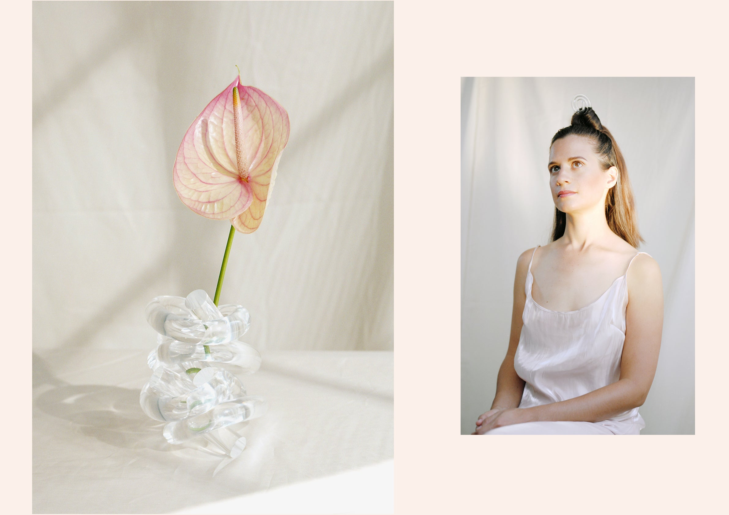 Corey Moranis clear lucite Big Knot home around bloom, Corey Moranis Swirl Hair Pin on model collage