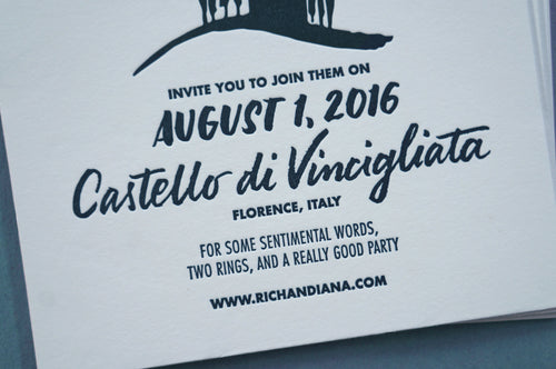 Letterpress printed hand lettered wedding invitation Italian wedding And Here We Are